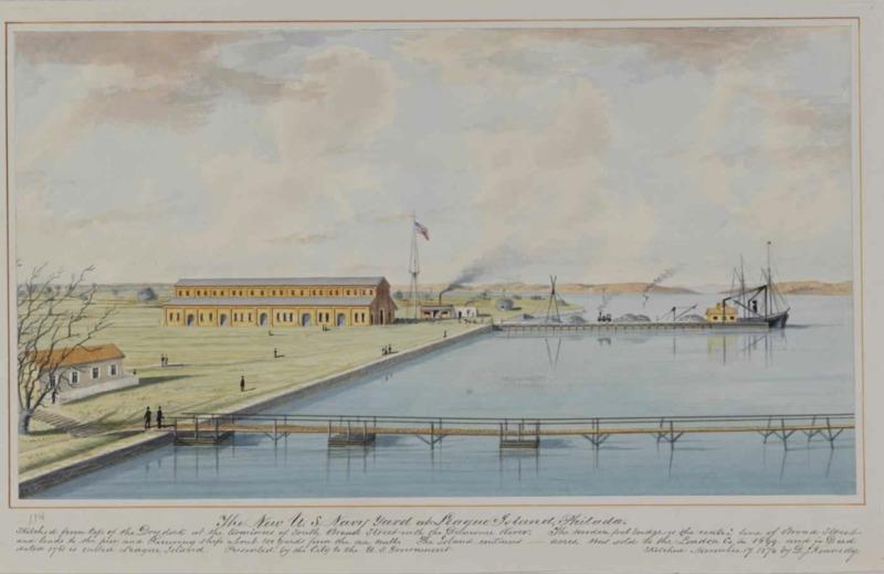 The New U.S. Navy Yard at League Island watercolor, 1874