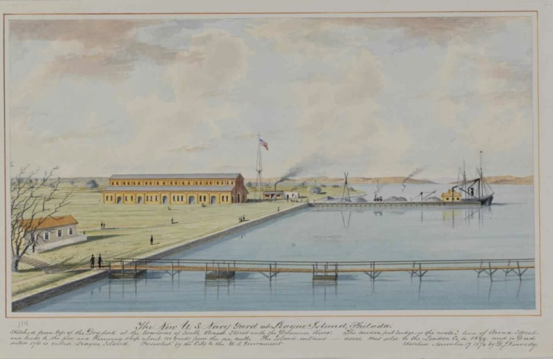 Gate to League Island Navy Yard watercolor, 1891