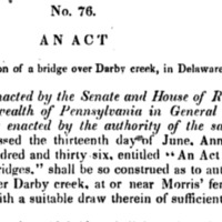 An Act providing for the erection of a bridge over Darby creek, in Delaware county